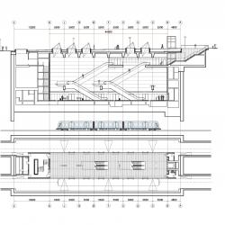 Elevation of Kongens Nytorv Staition at top with train for scale and plan of platform at the bottom.