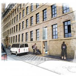 Drawing of accessible entrance with wheelchair user entering
