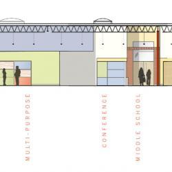 Elevation of central spine of building